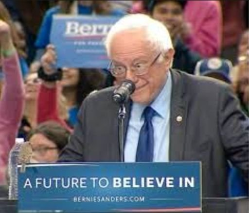 Birdie Sanders! A cogent and even-tempered Bernie Sanders gesturing towards a bird at a campaign rally in Portland, Oregon on
