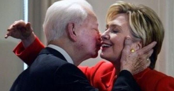 Circa 2004, Senator Hillary Clinton from New York sharing an embrace with the late Robert Byrd, the renowned Senator and parl