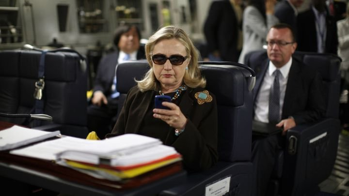 """This now-infamous photograph spurred the """"Texts from Hillary"""" internet meme and demarcates a time when Clinton was beloved as"""