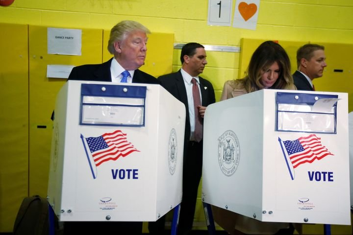 Republican presidential nominee Donald Trump and his wife Melania Trump vote at PS 59 in New York, New York, U.S. November 8,